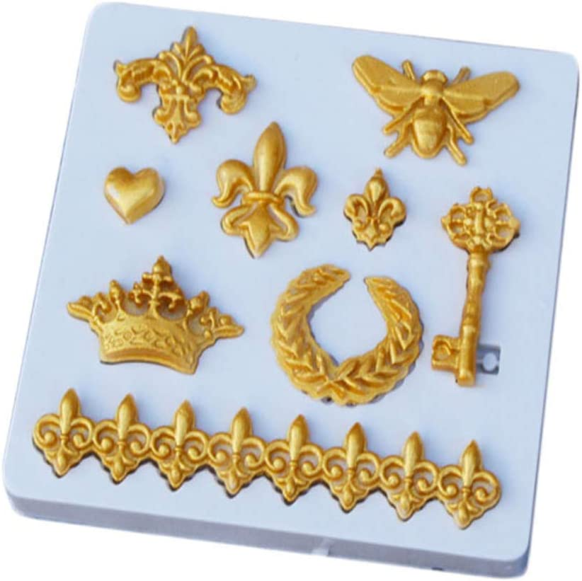 Cute Crown Fleur De Lis Heart Butterfly Collection Fondant 3D DIY Cupcake Silicone Mold Tool for Make Chocolate Hard Candies Dessert Ice Cube