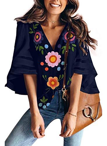 AlvaQ Short Sleeve Floral Print T-Shirt for Women Summer Short Sleeve V Neck Casual Shirts Blouses Medium Blue