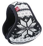 Ilishop Unisex Woolen Yarn Big Snowflake Pattern Wrap around Earmuffs Black Free