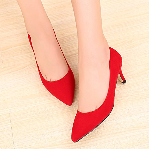 Shoes Pointed Heel JESSI Kitten Classic Slip red Velvet Dress Toe MAIERNISI Women's On Pumps wP4qW4Xf