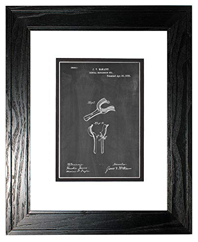 Dental Impression Cup Patent Art Chalkboard Print in a Black Pine Wood Frame with a Double Mat (11