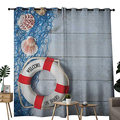 NUOMANAN Window Curtain Fabric Buoy,Welcome on Board Message on Lifebuoy with Fishing Net Seashell Wood Floor of Boat, Dust Blue Red,Rod Pocket Curtain Panels for Bedroom & Living Room - Light Board Frozen Message Up