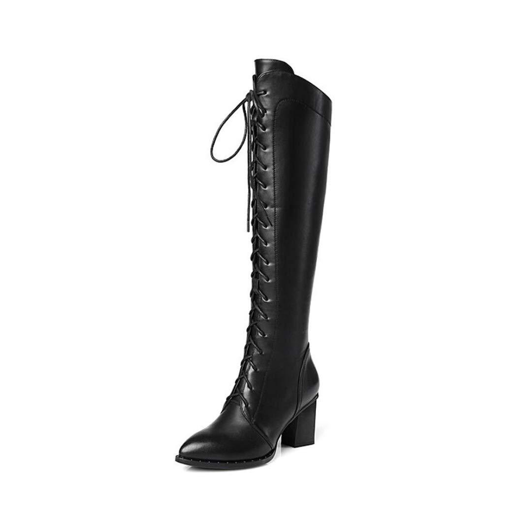 Zxcer Herbst und Winter Damen Lederstiefel Lederstiefel High Heels dick mit hohen Stiefeln über den Kniestiefeln  | Garantiere Qualität und Quantität