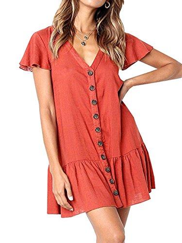 (Voopptaw Women's Short Sleeve Ruffle Button Plain T-Shirt Mini Dress Red Medium)