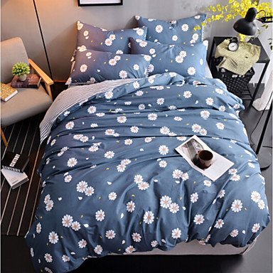 DB&PEISHI Floral 1pc Duvet Cover 2pcs Shams 1pc Flat Sheet , dark navy , queen