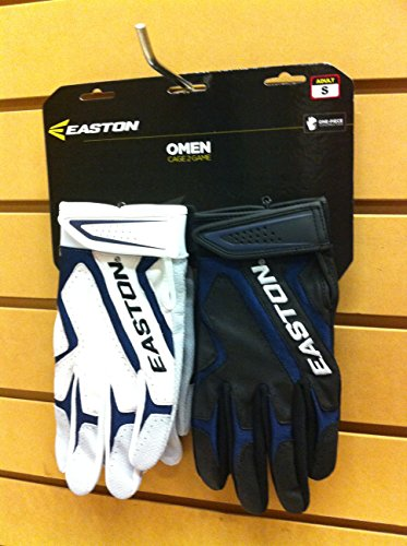 Easton Pair of 2 Game Batting Glove (White/Navy-Black/Navy, (Multi Sport Instant Cage)