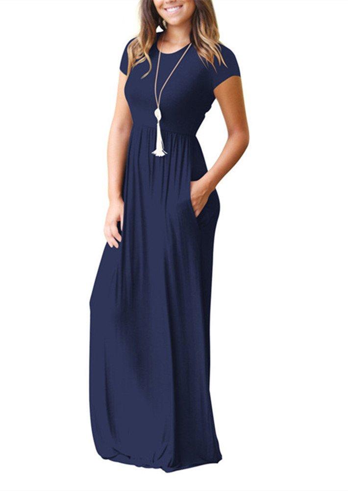 Women's Casual Plain Loose Swing Pocket Long Dress Short Sleeve Maxi Dresses (Dark Blue, L) by Santwo (Image #3)