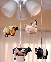 Decorative Rustic Country Kitchen Farmhouse Animal Fan Pull Set Cow Sheep Cow Pig