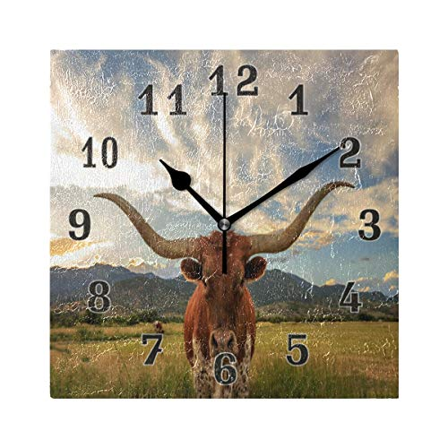 Linomo Vintage Texas Longhorn Steer Cattle Wall Clock Decor, Silent Non Ticking Square Clock Quiet for Kitchen Living Room Bedroom Bathroom Office ()