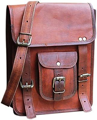 Leather 11 Inch Sturdy Leather Messenger Satchel Bag Tablet bag For Men  Women 5a420c616