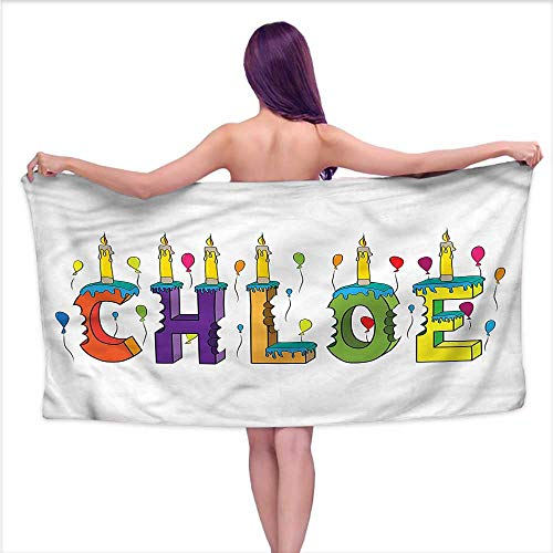 Denruny Printed Bath Towel Chloe,Cheerful Lettering Design,W12 xL35 for Beach