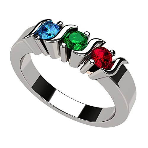 NANA S-Bar Mothers Ring 1 to 6 Simulated Birthstones- 10k White Gold- Size 8