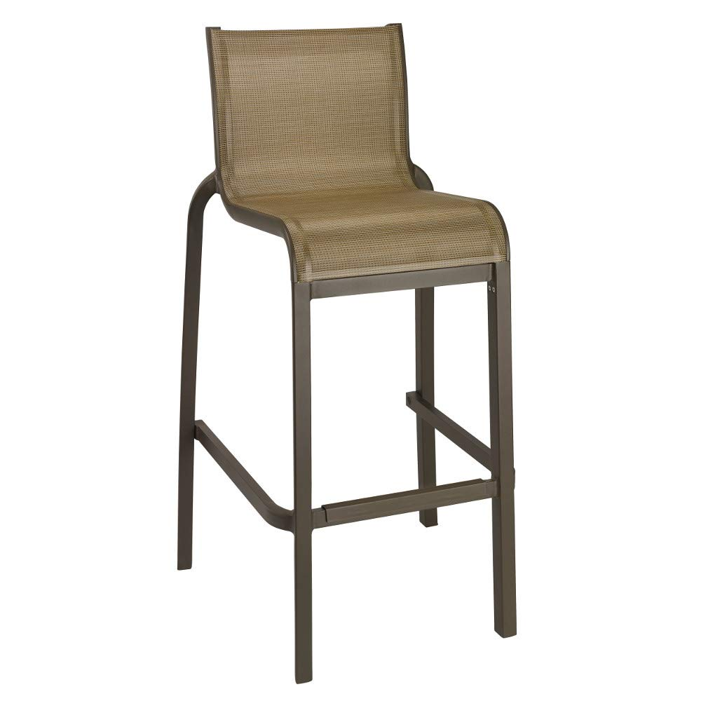 Grosfillex US300599 Sunset Stacking Barstool, Armless with Fusion Bronze Frame & Cognac Seat (Case of 8)
