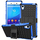 Sony M4 Aqua Case,Sony M4 Aqua Case Cover,XYX [Kickstand] Blue Armor Case [2 in 1 Rugged Hybrid] Hard/Soft Drop Impact Resistant Protective Case with Kickstand for Sony Xperia M4 Aqua - Blue