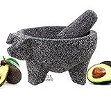 M.D.S Cuisine Cookwares Molcajete 8'' Pig Head Black Lava Stone Mortar Pestle Bowl Tool Preseasoned New
