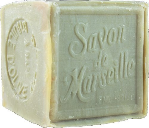 (Authentic Traditional Savon de Marseille Olive Cube Stamped 300g - Handcrafted pure olive oil French soap)