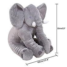KiKi Monkey Baby Stuffed Elephant Plush Pillows Pre-Kindergarten Toys (gray)