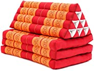 Leewadee XL Foldout Triangle Thai Cushion, 67x31x13 inches, Kapok, Orange red