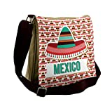 Lunarable Mexican Messenger Bag, Cultural Ethnic Hat Costume, Unisex Cross-body