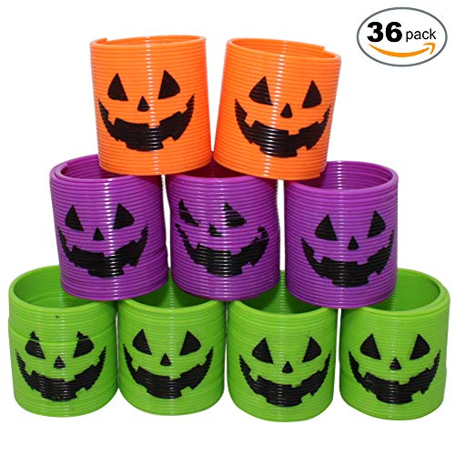 THE TWIDDLERS 36 Mini Halloween Magic Springs - 4 Styles, Perfect for Halloween Deco, Trick or Treat, Party Favours - Class Rewards and More -