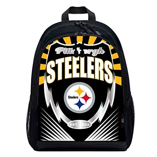 Officially Licensed NFL Pittsburgh Steelers Lightning Kids Sports Backpack, Black