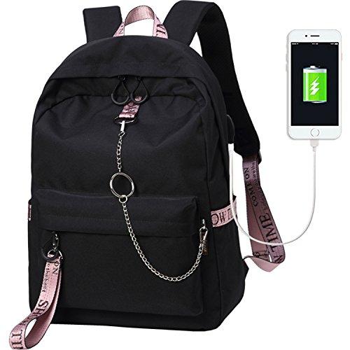 El-fmly Fashion Backpack with USB Port,Casual Lightweight Backpacks Cute Bookbag Shoulder Bag School Backpack for Teen - Black+Pink