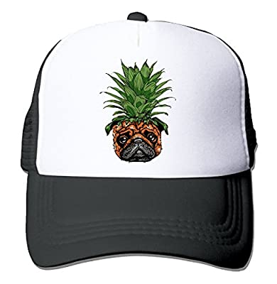 Fiose JJIMM Pineapple Pug Puppy Dog Flat Bill Trucker Mesh Hat Baseball Cap Snapback