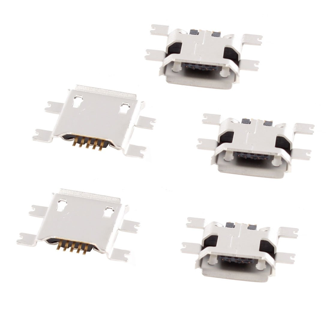 uxcell 5 Pcs Micro USB Type B Female Socket 180 Degree 5-Pin SMD SMT Jack Connector