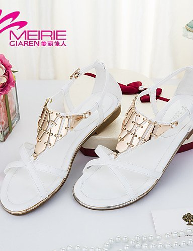 ShangYi Womens Shoes Faux Leather/Leatherette Flat Heel Comfort/Open Toe Sandals Casual Blue/Pink/White Pink