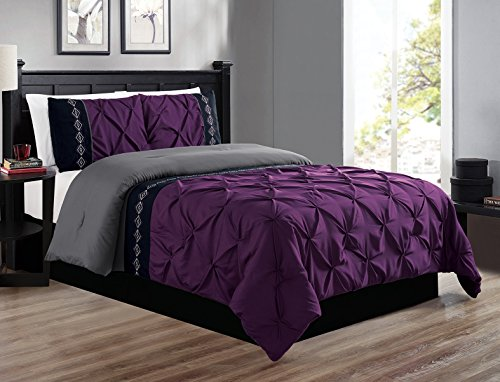 3 Piece QUEEN size Dark Purple / GREY / BLACK Double-Needle Stitch Puckered Pinch Pleat All-Season Bedding-Goose Down Alternative Embroidered Comforter - Purple With Grey