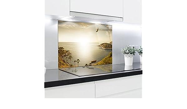 Paneles de cristal cocina Splashback – Bañador estampado resistente al calor vidrio endurecido 90 x 65 cm: Amazon.es: Hogar