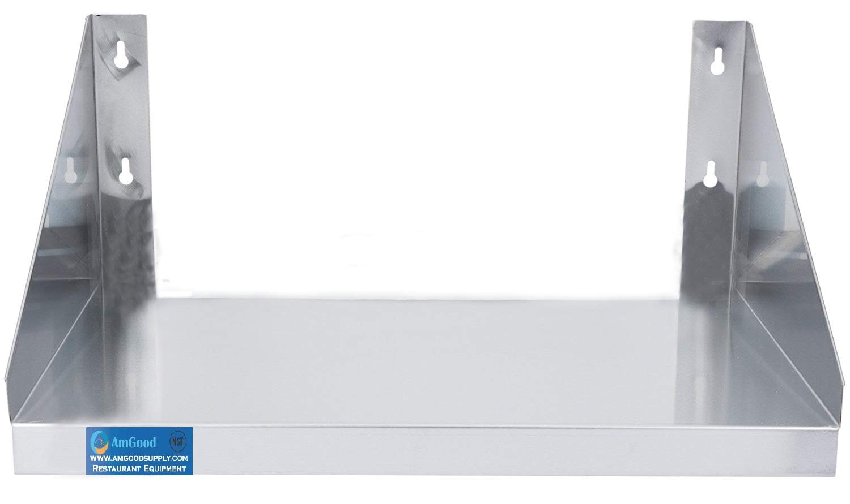 18'' Length x 24'' Width | Stainless Steel Microwave Shelf | Metal Appliance Shelving | Heavy Duty | Commercial Grade | Wall Mount | NSF Certified | Silver
