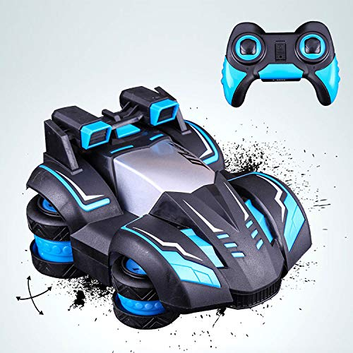 pop mart RC Car Spins Stunt Turbine Drift High Speed Remote Control Car Toy 360 Degree Blue Vehicle Rechargeable 5 Lighting Modes Safe Durable Birthday Xmas Gift for Kids Boys Girls