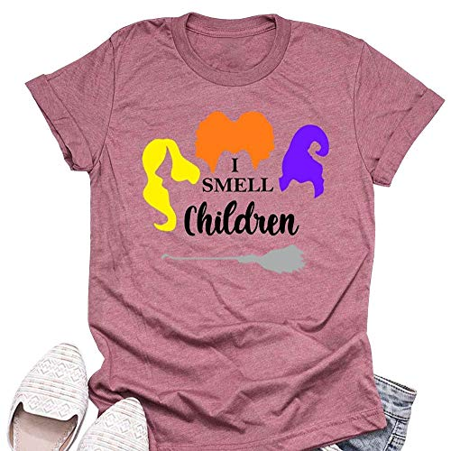 Shirts For Halloween (I Smell Children Hocus Pocus Shirt Women Funny Halloween Graphic Tee Fall Holiday T-Shirt Tops Tshirt (Red-1,)