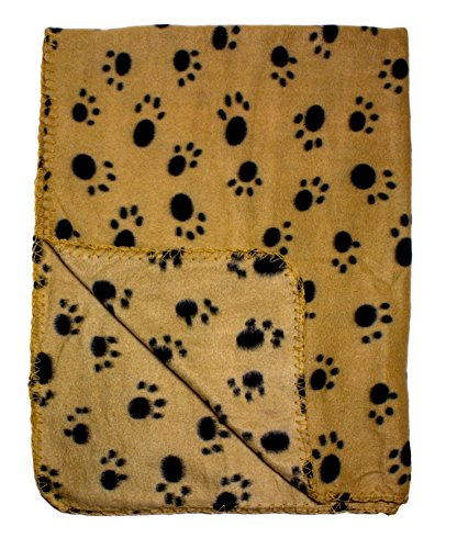 Tan Fleece 39 x 27 Inch Pet Blanket with Paw Print Pattern - Animal Supplies by bogo Brands