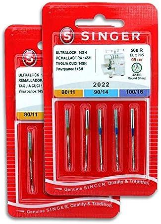 Singer Pack de 2 Paquetes de Agujas Overlock Singer 2022 500R ELx705 para Máquina de Coser Remalladora Singer 14SH