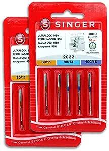 Singer Pack de 2 Paquetes de Agujas Overlock Singer 2022 500R ...