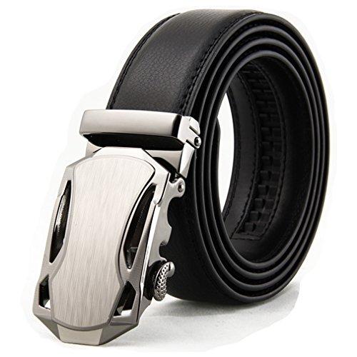 Wide Solid Genuine Cool Leather Ratchet Belts For Men Slide (Belt Buckle New Cool)