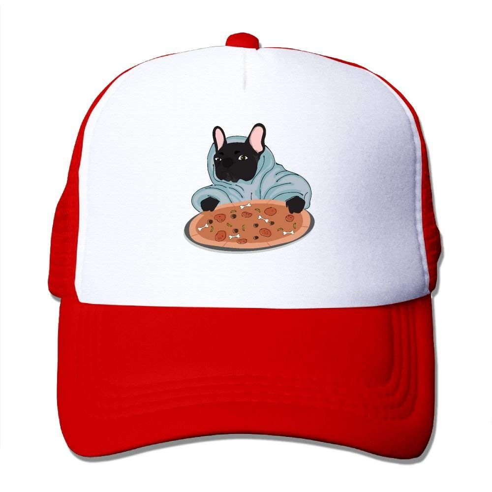 Cartoon Interesting Dog Pizza Mesh Trucker Caps/Hats Adjustable for Unisex Black