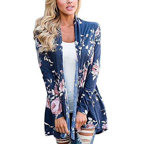 Shirt Top Cardigan Sweater (Poptem Womens Floral Long Sleeve Kimono Cardigan Boho Tops Casual Cover up Blouse Shirts)