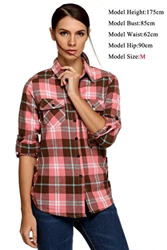 CRAVOG Camisa Mujer de Mangas Largas de Moda Tops Blusa Shirts Rosa+Gris