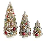 Set of 3 Tabletop Frosted Pine Christmas Trees - White