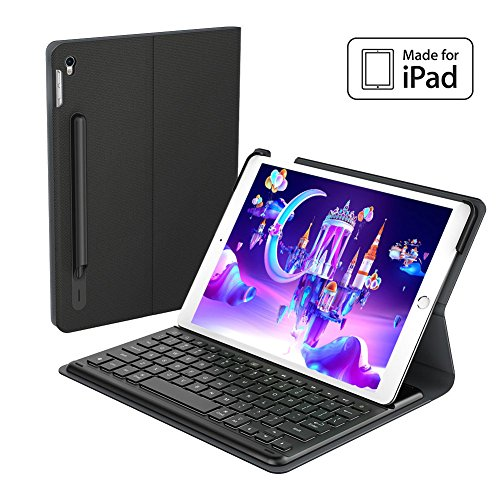 Genuine Apple MFi Certified iPad Pro 10.5 Case Keyboard with Smart Connector Backlit and Pencil Holder (English Layout) by HUASEMI