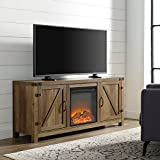 Cheap Home Accent Furnishings New 58 Inch Barn Door Fireplace Television Stand – Rustic Oak Finish