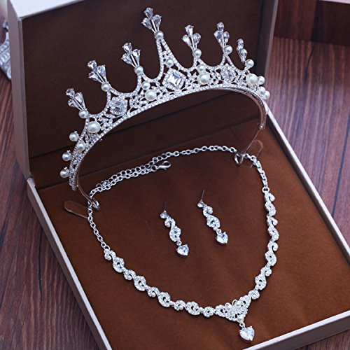Olici Bridal Wedding/Prom Hair Pins/Headdress Accessories/Party/Girls Bridal Crown Necklace Earrings Three Pieces Es Gowns And Full Set ()