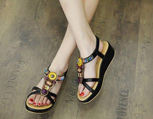 zeppe elastici LIANGXIE rilievo Ms in unita con Summer Sandali Nero elastici tinta con Sandali zeppa ZHHZZ Sandals New XPXCq
