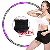 ABDQPC Fitness Exercise Weighted Hula Hoop, 8 Stitching Fitness Equipment with Waist Trainer Belt Hoop (PurpleGray)