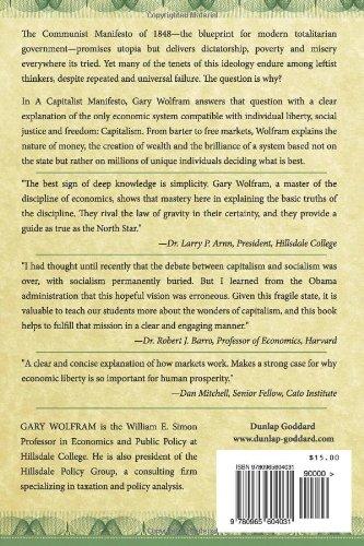 A capitalist manifesto understanding the market economy and a capitalist manifesto understanding the market economy and defending liberty gary wolfram 9780965604031 amazon books malvernweather Images