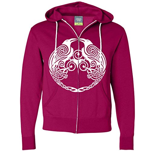 Dual Raven White Print Zip-Up Hoodie - Bright Pink Large (What Does Peony Mean)