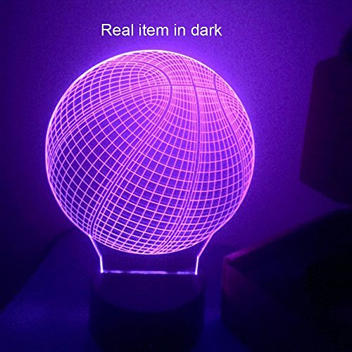 3D LED Basketball Night Light Table Desk Lamp 7 Color Illusion Decoration Creative Gifts Sports Toys Christmas NBA Household Home Accessories Furniture Round Shape Colorful Glows Touch Switch